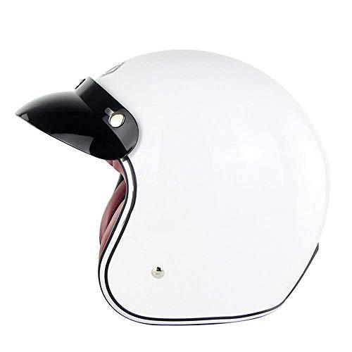 NOMEN Casco Jet Helley Retro Open Face Half Casco Jet D.O.T Certified Motor Scooter Helmet Pilot (Bianco Brillante),XXL(62~63CM)