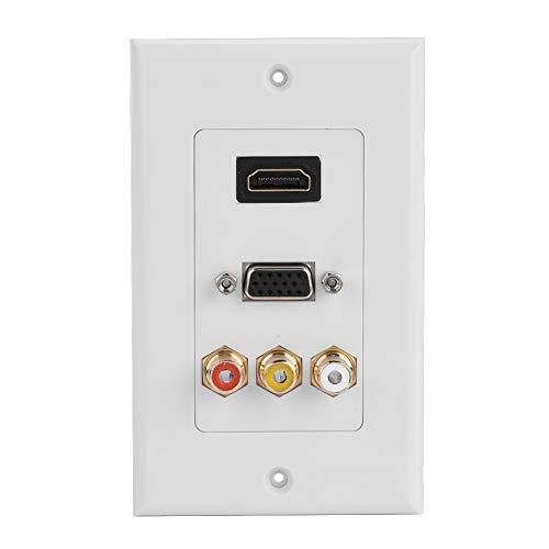 Hakeeta HDMI-VGA-Cinch-Anschlüsse 3-in-1-Multimediawand Audio-Video-Adapterbuchse Kabelstecker Steckdose Verteilung und Organisation Wandplatten Steckdose -