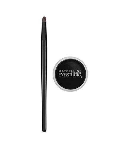 Maybelline Eyestudio Lasting Drama 24H Gel Eyeliner, für präzise und intensiv schwarze Liner-Looks, bis zu 24 Stunden Halt, hochpigmentiert, wasserfest, mit 2-in-1 Profi-Pinsel, 3 g, intense black