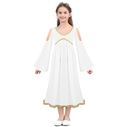 dPois Mädchen Langarm Kleid mit Trompetenärmeln Göttin Kostüm Festlich Kleid Partykleid Kinderkostüm Cosplay Halloween Weihnachten Verkleidung Weiß Weiß 116-122/6-7 ()