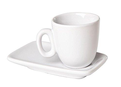 Espresso Tassen-Set, 8-teilig, weiß, aus Porzellan, 4 Tassen + 4 Unterteller
