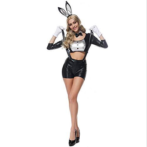 Kostüm Provokative - CYYMY Damen Lackleder Kaninchen Häschen Mädchen Cosplay Tragen Uniform Kostüm Einstellen Anzieh Teddy Gurt Dessous Kostüm Schlafanzug Bunny Girl Clubwear