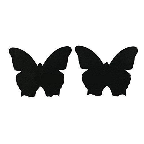 Fenical 10 paia monouso copricapezzoli copri capezzoli su reggiseno sexy a forma di farfalla boob sticker copricapo per donne (nero)