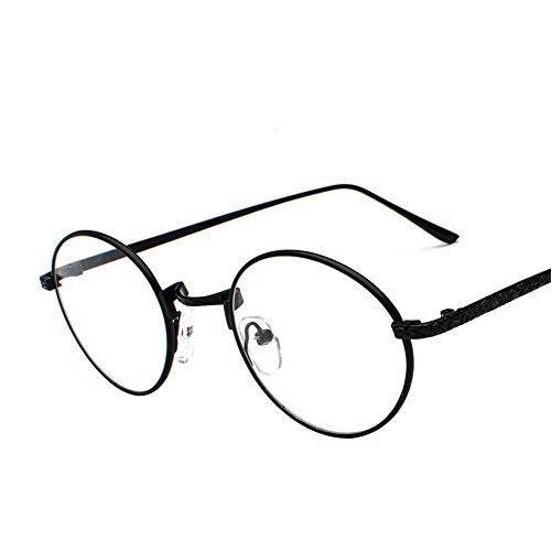 SUMHOME Polarisierte neue Metall Brillengestell weibliche Flut runde geschnitzte volle Rahmennetz rote Pigment Brillengestell flache Spiegel männlich, schwarzer Rahmen