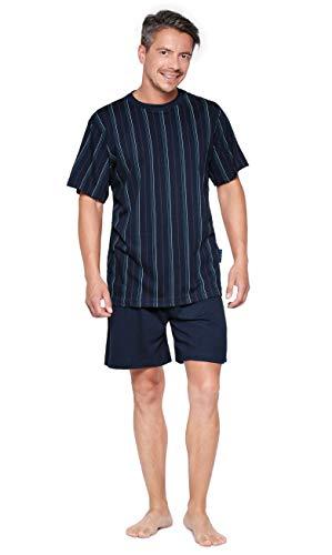 Moonline bequemes und modernes Herren Baumwoll-Shorty, mit schicken Streifen, Navy, Gr. L (52) - Streifen-satin Baumwolle Pyjama