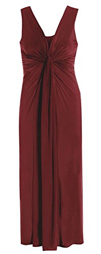 Islander Fashions Dames Clbrits Sans Manches Boob Nud Soire Maxi Womens Fancy Parties Dress EU 44-54 Wine