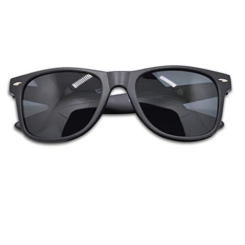 WHCREAT Herren Unisex Polarisierte Sonnenbrille Federscharnier Matt Rahmen UV 400 Schutz Linse für Männer Frauen - Matt Schwarz Rahmen Schwarz Linse