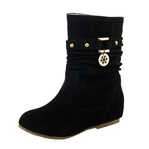 Grande Taille Femme Bottes Basse Plates,Overdose Mode Hiver Solde Bottines en Daim Chaussures Suède Bout Rond Ankle Boots