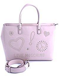 Love Moschino Bolsa de compras mujer hecha de cuero rosa con tachuelas doradas. Manijas, correa de hombro extraíble con cremallera. Altura 29 cm, ancho 46 cm, grosor 16 cm.