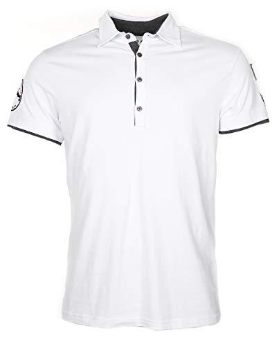 Top Gun Herren T-Shirt Heaven, Polo- Shirt für Männer mit Kragen und Patches (S, Weiß) (Cruise Navy Patches)