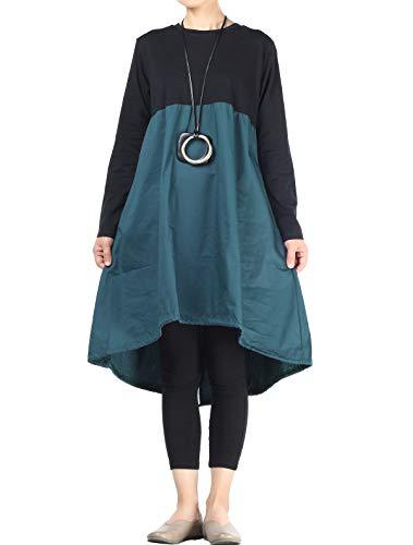 Vogstyle Damen Langarm A-Linie Beiläufige Lose mit Tasche T-Shirt-Kleid Art 3-Blau M
