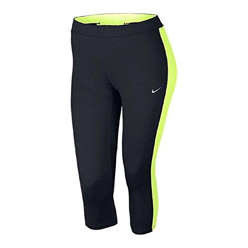 Nike Women's Plus Size Dri-FIT Essential Crops - Black w/ Volt (1X