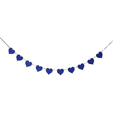 Tinksky Cuore di amore a forma di Banner Banner di ghirlanda della stamina per la decorazione della casa di festa di nozze (blu scuro)