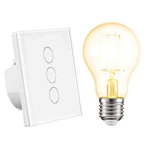 ALLOMN 1Pcs Smart Dimmer Schalter WLAN Touch Lichtschalter Arbeit mit Alexa/Google Home/IFTTT/APP Fernbedienung, Timing Funktion, 2.4GHz Netzwerk/ E27 LED Birne Enthalten Neutralleitung Erforderlich