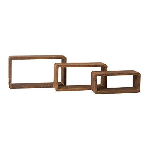 Mobili rebecca® set 3 mensole da parete rettangolari legno marrone scuro rustico vintage complementi d'arredo (cod. re4078)