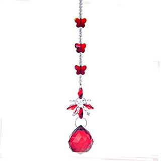 H&D Red Crystal Ball Hanging Chandelier Prism Window Suncatcher Butterfly Wedding Souvenir