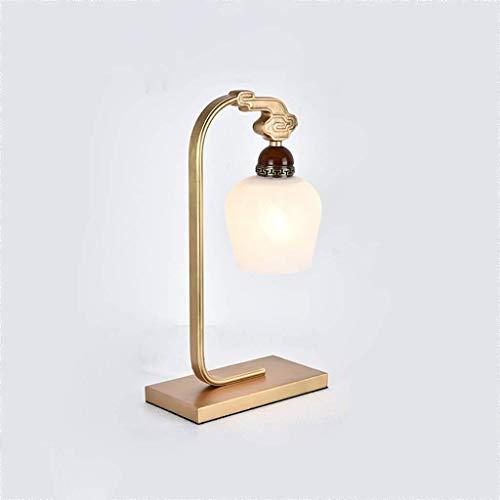 PLLP Leseschreibtischlampe, Studentenwohnheim Tischlampe-Beleuchtung Tischlampen - Nachttischlampe Neoklassizistisches chinesisches Kupfer Schlafzimmer Nachttischlampe Retro Wohnzimmer Mahagoni Dekor