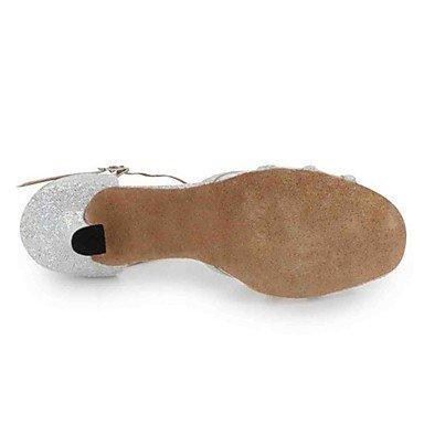 Scarpe da ballo-Personalizzabile-Da donna-Balli latino-americani-Tacco su misura-Finta pelle-Nero Argento Dorato Black
