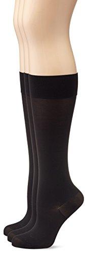 MyWay Damen Fein-Kniestrümpfe mit Stützfunktion Matt, 3er Pack, 70 DEN, Gr. 39/42, Schwarz (schwarz 610)