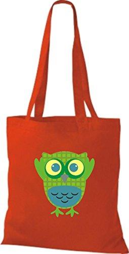 ShirtInStyle Jute Stoffbeutel Bunte Eule niedliche Tragetasche mit Punkte Karos streifen Owl Retro diverse Farbe, blau rot