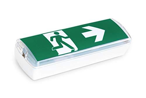 Bronson Notbeleuchtung nachleuchtend Notausgang Fluchtweg-Schild beleuchtet mit LED Akku Sicherheits- und Rettungszeichen (1 Stück)