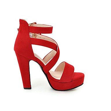 LvYuan Da donna-Sandali-Ufficio e lavoro Formale Casual-Comoda-Quadrato-Finta pelle-Nero Rosso Grigio Black