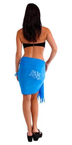 1 World pareo ibisco pareo costume da bagno da donna mezzo in la tua scelta di colori Light Blue