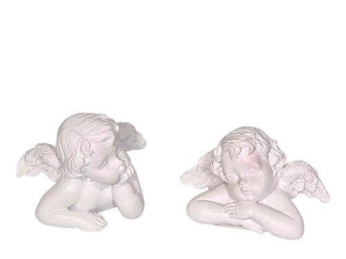 Set di 2 angeli cherubini poliresina, 6x5x3,5