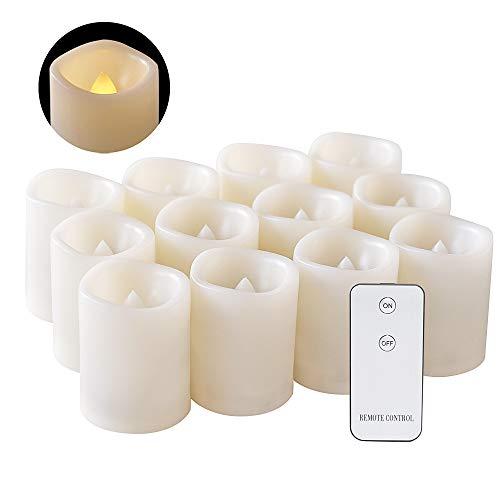 Eldnacele - Juego de 12 velas LED con mando a distancia sin llama, funciona con pilas, incluye pilas, luz blanca cálida, 3,8 x 5 cm