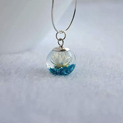 Marguerite Vraie Fleur Bleu L'île au Trésor Mineral Verre Boule 925 Sterling Argent Serpent Chaîne Collier 45cm Longueur