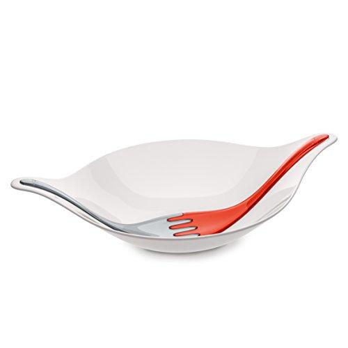 Koziol 3692115 Saladier avec Couverts Leaf 3l Gris/orangeRouge, Plastique, Orange/Rouge, 30,9x46,6x10,7 cm