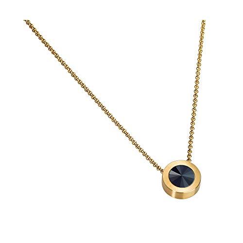 Heideman Halskette Damen Coma 16 aus Edelstahl Gold Farben matt Kette für Frauen mit Swarovski Kristall Weiss oder farbig Erbskette in verschiedenen Längen Jet Gr. hk2128-7-280-38