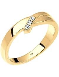 Diamore Damen-Stapelring Diamantring 585 Gelbgold Diamant (0.06 ct) 925 Silber weiß Brillantschliff  - 0606471215