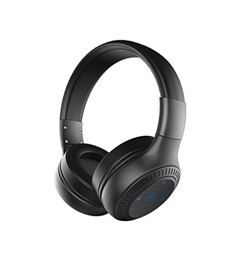 SHENGY Faltbare On-Ear Wireless Bluetooth Kopfhörer HD Sound Bass AUX Line-in 3D Sound Noise Canceling Headset mit Mic,Black