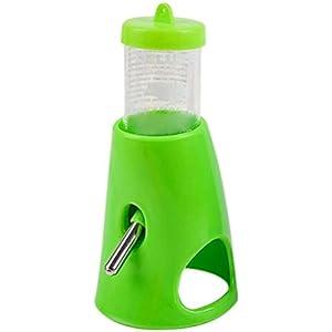 UEETEK Wasserspender für klein Tiere 2 in 1 Wasserflasche Mit Raum für Zwerghamster (Grün)
