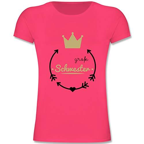 Geschwisterliebe Kind - Große Schwester - Krone - 152 (12-13 Jahre) - Fuchsia - F131K - Mädchen Kinder T-Shirt -