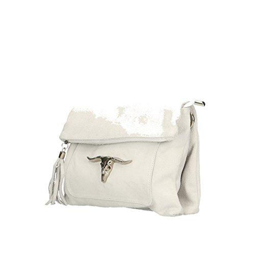 Chicca Borse Borsa a tracolla in pelle 28x22x5 100% Genuine Leather Bianco
