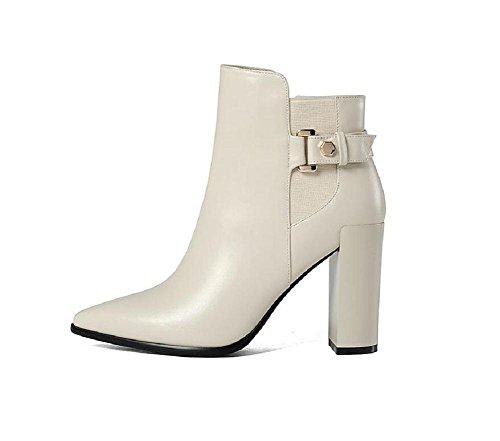 YYH Documentaire de brut fait chaussures de bottes de cheville bottes talon haut en cuir Slim Boot féminine White