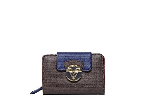 Mario Valentino portafoglio donna VPS1EY146 OPERA in ecopelle color marrone, blu e bordeaux