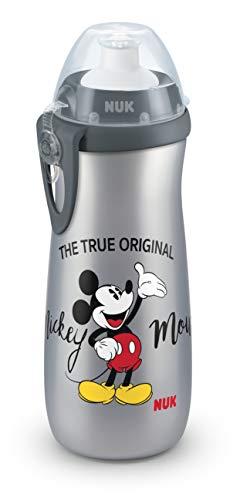 NUK 10255416Disney Mickey Mouse Sports Cup, botella para niños a partir de 36meses, antigoteo, sin BPA, gran volumen 450ml, gris