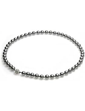 Schmuckwilly Perlenkette Damen Muschelkernperlenkette Grau Magnetverschluß Hochwertige Perlen Collier Halskette...