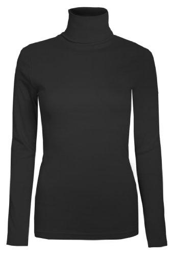 Damen Rollkragen-Pullover, ausschließlich von Brody & coâ ®, Unifarben, für den Winter und Skifahren, Stretch-Qualität, Jersey Baumwolle Gr. Small, schwarz (Rollkragen-pullover)