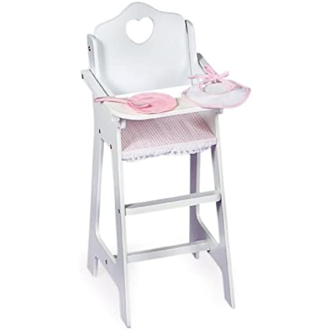 Wooden High Chair with Plate, Bib, and Spoon for 46cm Dolls