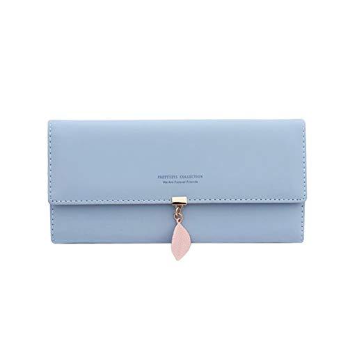 Damen Brieftasche, großes Lederfach, Lange Geldbeutel, Elegante Kartentasche, mehrschichtige Brieftasche, einfache Blaue Handtasche (Hellblau) -