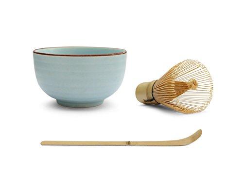 Matcha Tea Bowl Set (3 Piece) - Consisting Of Matcha Bowl (Light Blue), Matcha Bamboo Whisk And Matcha Bamboo Scoop Test