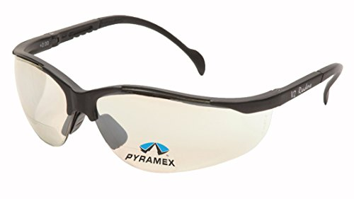 Pyramex Safety Venture II Readers, Black Frame/Indoor/Outdoor Mirror Lens