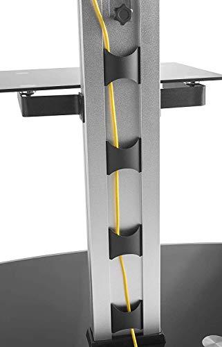 RICOO LCD TV Ständer Standfuss Glas Standfuß Halterung Neigbar FS0200 Schwenkbar Drehbar mit Rollen Höhenverstellbar LED Fernseher Stand Möbel Rack VESA 400×400 Universal inkl. DVD Receiver Glas Regal - 3