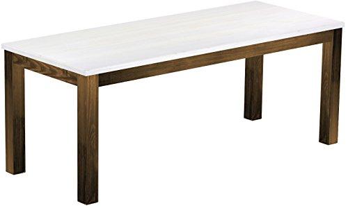 Brasilmöbel Esstisch Rio Classico 200x80 cm Eiche Platte Weiss Holz Tisch Pinie Massivholz Esszimmertisch Küchentisch Echtholz Größe und Farbe wählbar ausziehbar vorgerichtet für Ansteckplatten