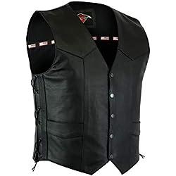 Texpeed Chaleco para Motociclista, Biker, Hombre, Chaleco, Motorcycle Biker, Negro, XL