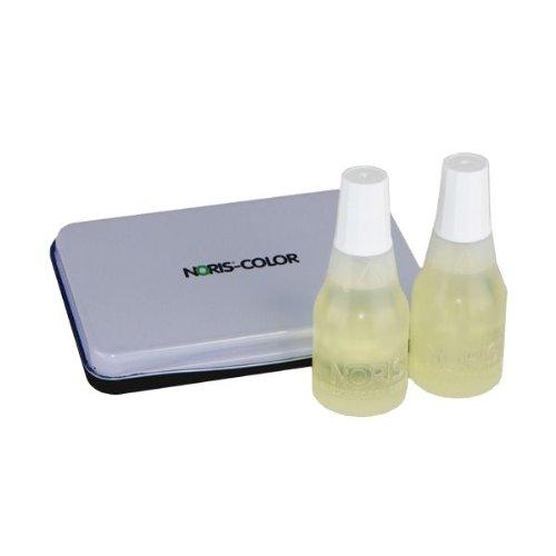 Noris Stempelfarbe Set, 2 x 25 ml UV-Licht Farbe + 1 Kissen 7x11 cm